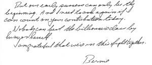 Bernie Letter